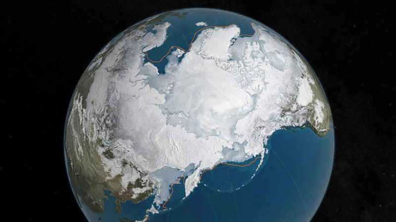 File - An undated NASA illustration shows Arctic sea ice at a record low wintertime maximum extent for the second straight year, according to scientists at the NASA-supported National Snow and Ice Data Center (NSIDC) and NASA. Photo: NASA via Reuters