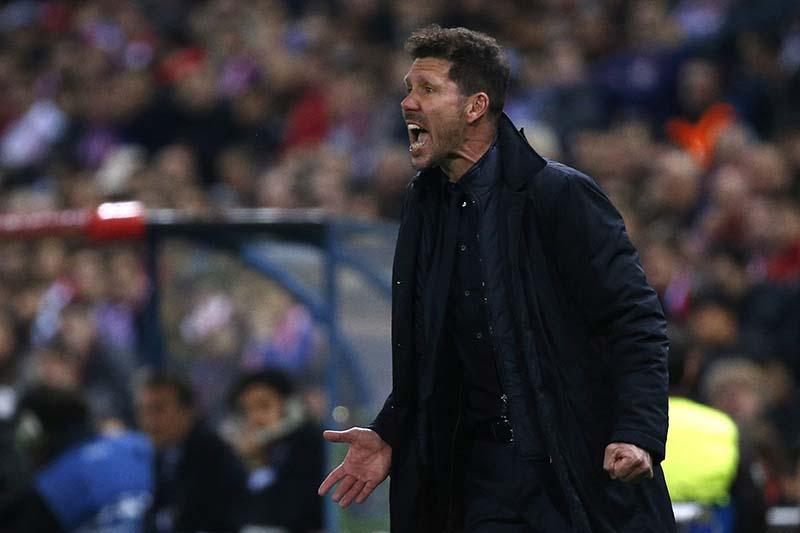 Atletico Madrid coach Diego Simeone in UEFA Champions League Round of 16 Second Leg  Atletico Madrid v Bayer Leverkusen, Vicente Calderon Stadium, Madrid, Spain, on March 15, 2017. Photo: Reuters