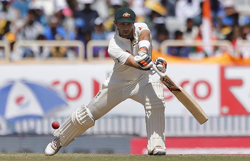Australia's Glenn Maxwell plays a shot during the first day of their third test cricket match against India in Ranchi, India, Thursday, March 16, 2017. Photo: AP
