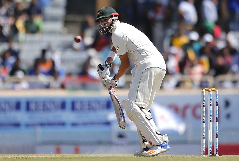 Australia's Matt Renshaw plays a shot during the first day of their third test cricket match against India in Ranchi, India, Thursday, March 16, 2017. Photo: AP