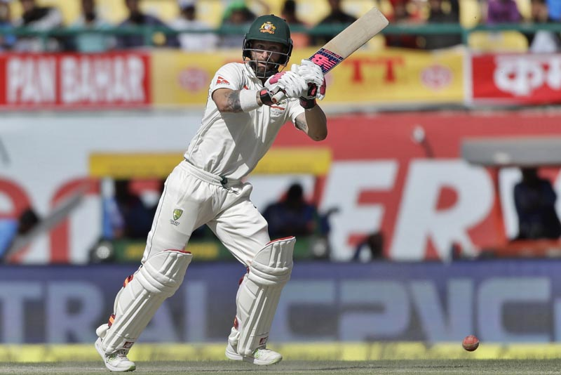 Australia's Matthew Wade plays a shot during the third day of their fourth test cricket match against India in Dharmsala, India, Monday, March 27, 2017. Photo: AP