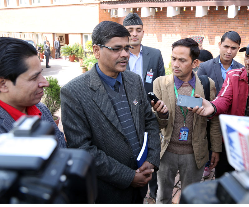 File - Chief Election Commissioner Ayodhi Prasad Yadav speaks with journalists after meeting PM Pushpa Kamal Dahal, in Kathmandu, on Friday, March 17, 2017. Photo: RSS