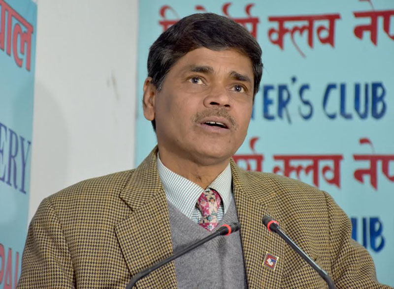 Chief Election Commissioner Ayodhi Prasad Yadav speaks with journalists, in Kathmandu, on Monday, March 13, 2017. Photo: Reporter's Club Nepal