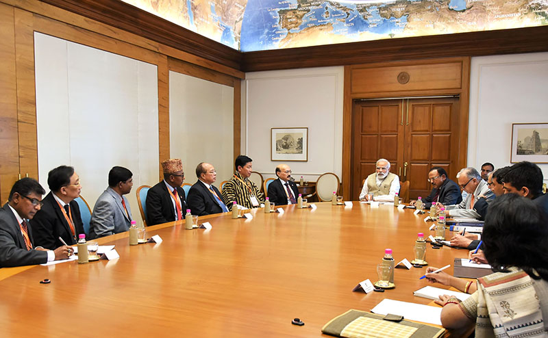 The National Security Chiefs of BIMSTEC Member States holding  a meeting with Indian Prime Minister Narendra Modi in New Delhi on March 21, 2017. Photo: PIB, India