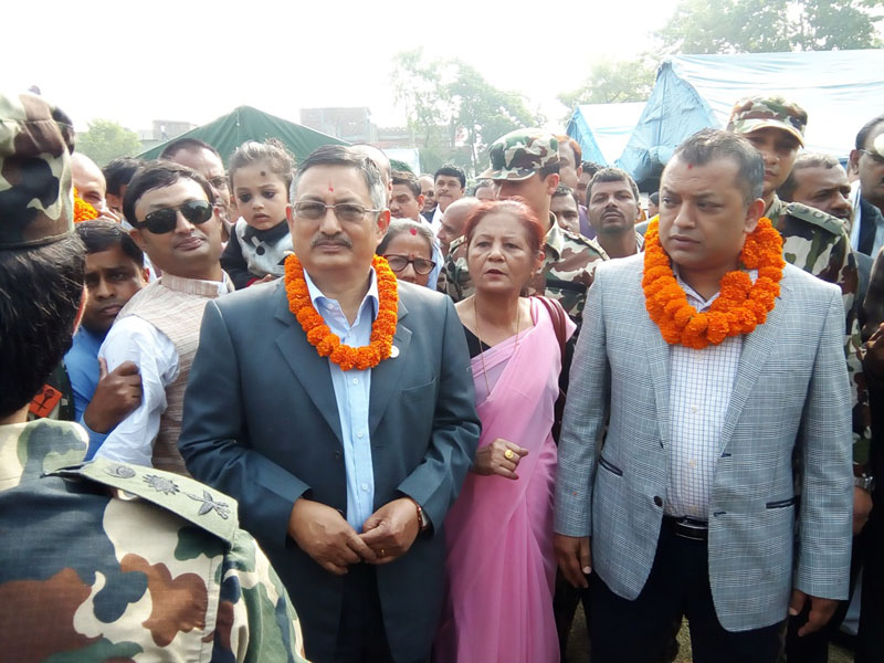 Minister for Defence Bal Krishna Khand (left, garlanded) and Minister for Health Gagan Thapa during an inspection of the District Hospital in Gaur of Rautahat district on Friday, March 24, 2017. Photo: Prabhat Kumar Jha