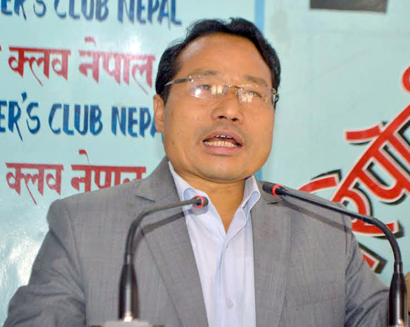 CPN Maoist Centre leader Barsha Man Pun addresses an interaction function in Kathmandu on March 31, 2017. Photo: Reporter's Club