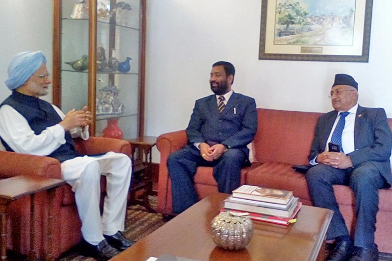 Nepal's Deputy Prime Minister and Home Minister Bimalendra Nidhi and Nepal's Ambassador to India Deep Kumar Upadhayay hold meeting with India's former Prime Minister Manmohan Singh in New Delhi, on Tuesday, March 14, 2017. Photo: Ramjee Dahal