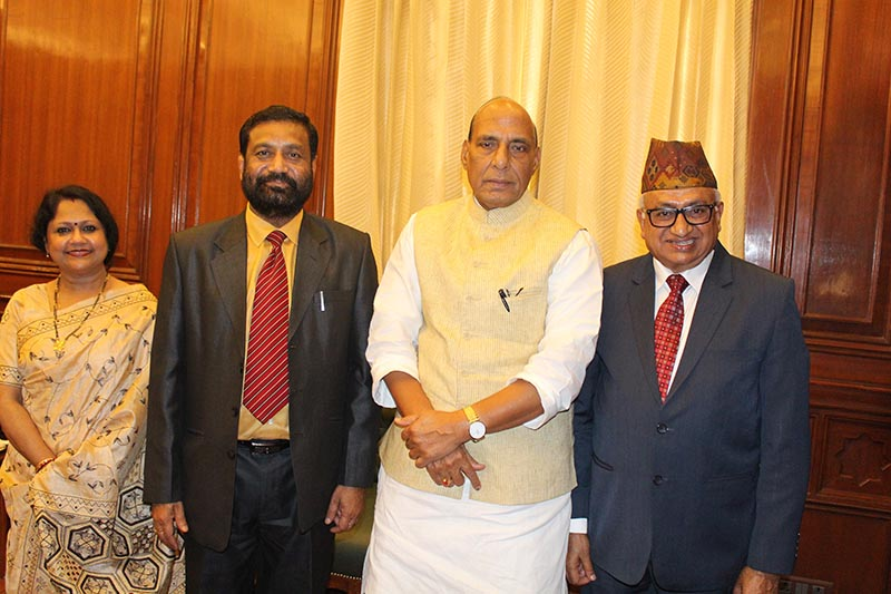Deputy Prime Minister and Minister for Home Affairs Bimalendra Nidhi meets with his Indian counterpart Rajnath Singh (centre right), in New Delhi, India, on Thursday, March 16, 2017. Photo: Ramjee Dahal