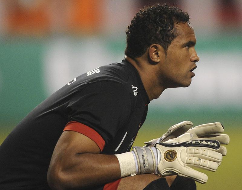 FILE - Flamengo's goalkeeper Bruno Fernandes de Souza during a soccer game in Rio de Janeiro, Brazil, on April 7, 2010. Photo: AP