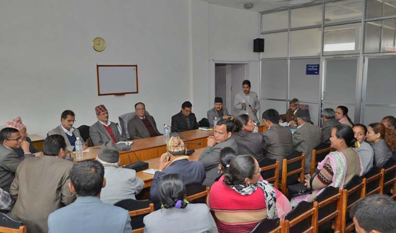 A meeting of the CPN Maoist Centre's parliamentary party held in Singhadarbar, on Tuesday, March 21, 2017. Photo Courtesy: PMu2019s Secretariat
