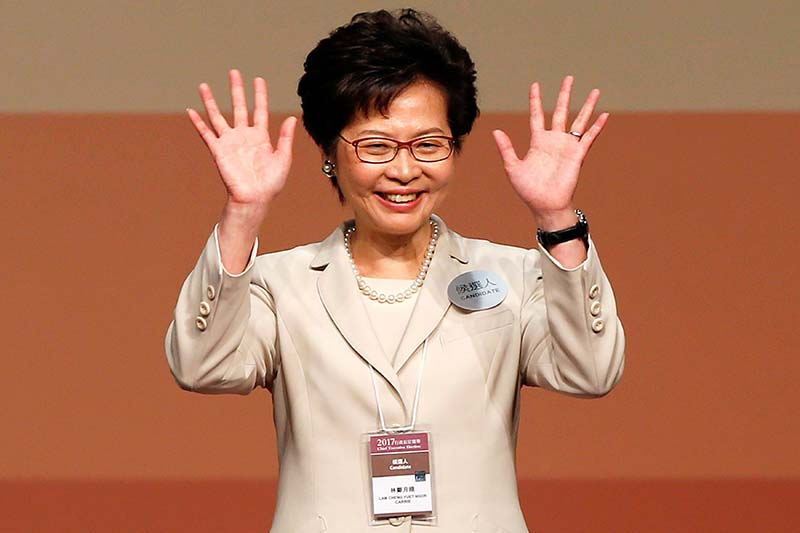 Carrie Lam waves after she won the election for Hong Kong's Chief Executive in Hong Kong, China, On March 26, 2017. Photo: Reuters