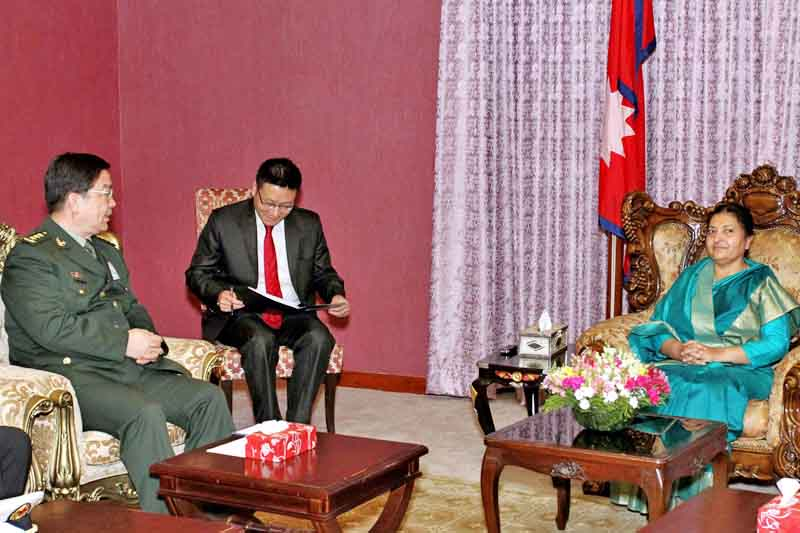 Chinese Minister of National Defence, General Chang Wanquan pays a courtesy call on President Bidya Devi Bhandari in Sheetal Niwas, Kathmandu, on Friday, March 24, 2017. Courtesy: President's Office