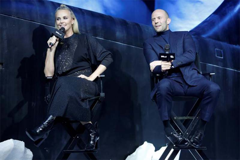 Actors Charlize Theron (left) and Jason Statham attend a media event for the new film 'The Fate of the Furious' in Beijing, China, on March 23, 2017. Photo: Reuters
