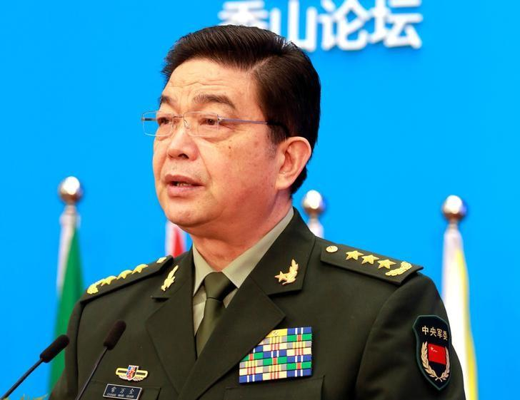 File - Chinese Defence Minister Chang Wanquan speaks at the Xiangshan Forum, in Beijing, China, October 11, 2016. Photo: China Daily via Reuters