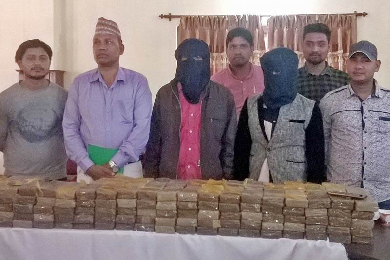 Two Indian men held on charge of hashish smuggling being paraded at the Chitwan District Police Office in Bharatpur on Monday, March 6, 2017. Photo: Tilak Ram Rimal