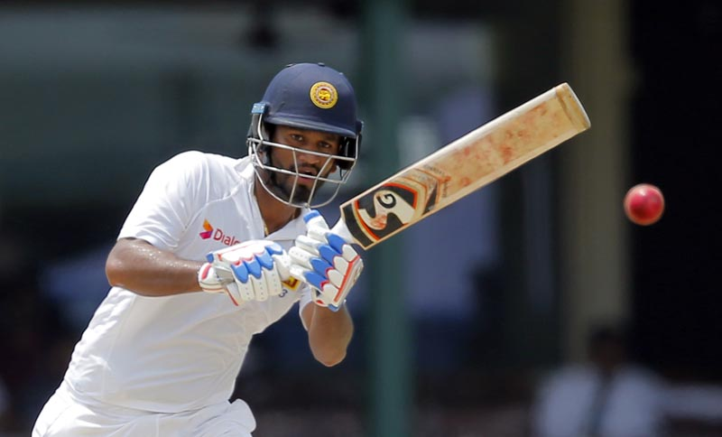 Sri Lanka's Dimuth Karunaratne watches his shot against Bangladesh on day four of their second test cricket match in Colombo, Sri Lanka, Saturday, March 18, 2017. Photo: AP