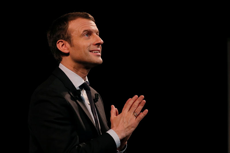 Emmanuel Macron, head of the political movement 'En Marche!', or 'Onwards!', and candidate for the 2017 presidential election, delivers a speech as he attends a meeting for Women's day in Paris, France, on March 8,2017. Photo: Reuters