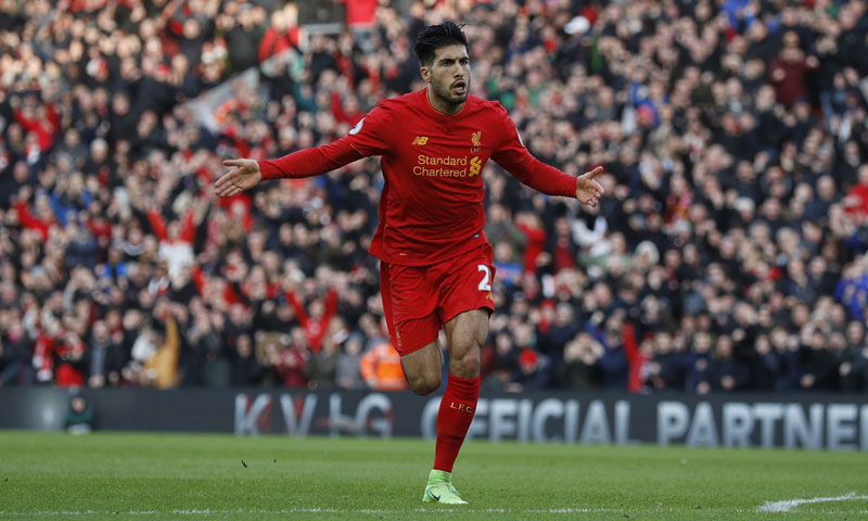 Liverpool's Emre Can celebrates scoring their second goal. Photo: Reuters