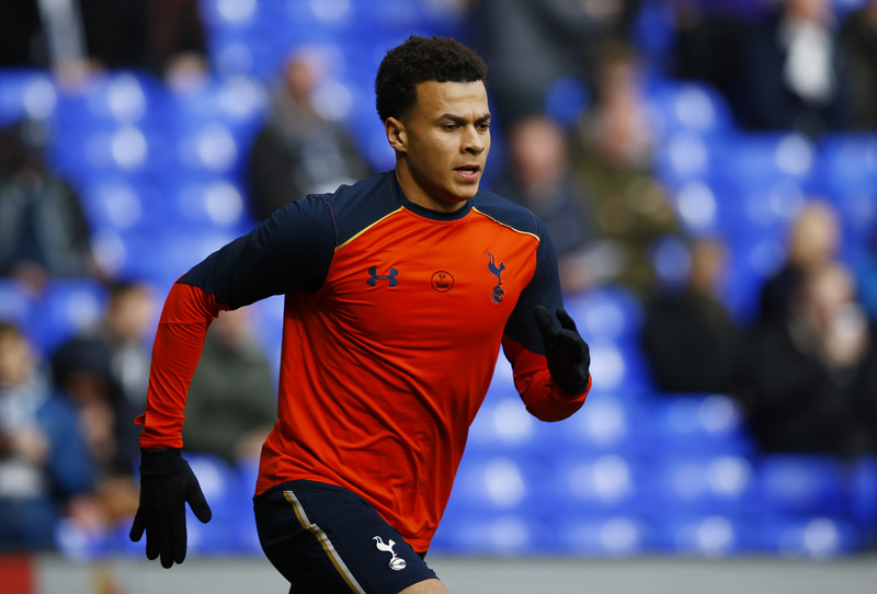 Tottenham's Dele Alli during the warm up before the match. Photo: Reuters