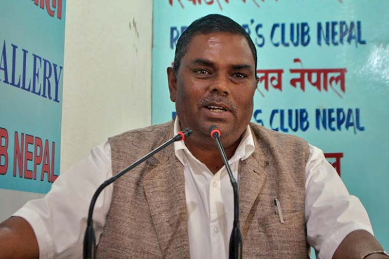 Federal Socialist Forum-Nepal Chairman Upendra Yadav interacts with the press at the Reporter's Club, in Kathmandu, on Saturday, March 25, 2017. Photo Courtesy: Reporter's Club