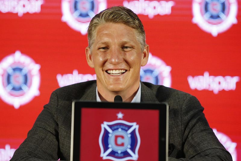 The Chicago Fire's new player Bastian Schweinsteiger, of Germany, smiles as he speaks during an MLS soccer press conference at the The PrivateBank Fire Pitch in Chicago, Wednesday, March 29, 2017. Photo: AP