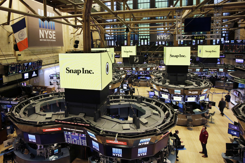 The New York Stock Exchange is prepared for the IPO of Snap Inc., Thursday, March 2, 2017. Photo: AP