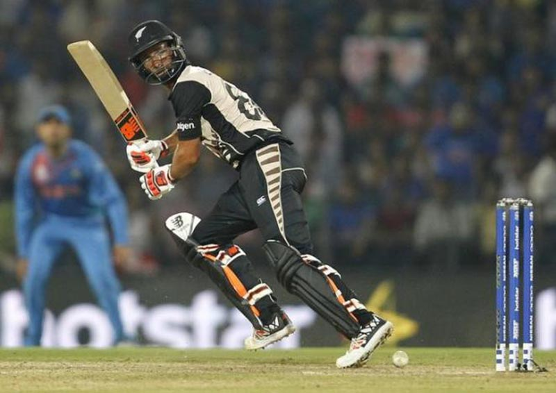 New Zealand's Grant Elliott plays a shot during World Twenty20 cricket tournament match against India, in Nagpur, India, on March 15, 2017. Photo: Reuters