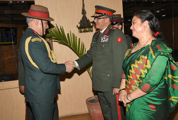 Indian Army Chief General Bipin Rawat being welcomed by Nepal Army's Lt Gen Purna Chandra Thapa at the Tribhuvan International Airport in Kathmandu. Photo: Nepal Army