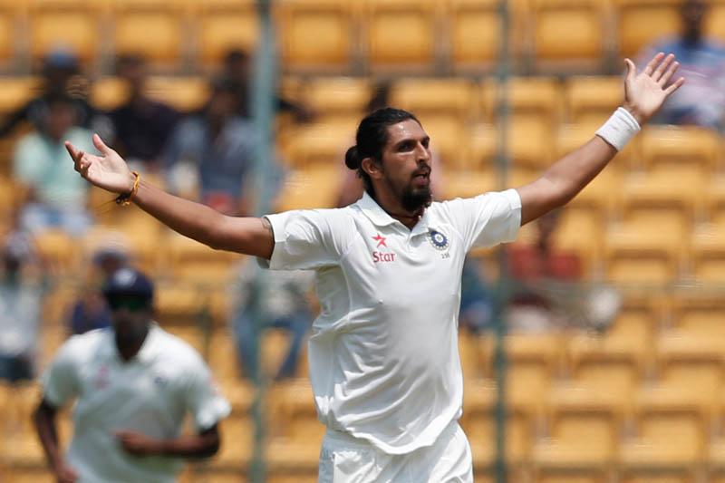 India's Ishant Sharma celebrates the wicket of Australia's Matt Renshaw. Photo: Reuters