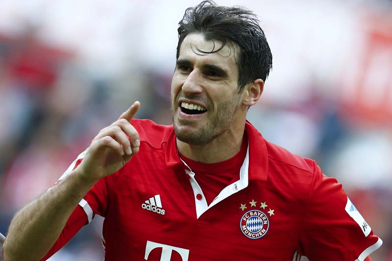 Bayern Munich's Javi Martinez of Spain celebrates his goal against FC Cologne. Photo: Reuters