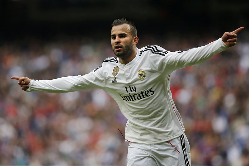 FILE - Real Madrid's Jese Rodriguez celebrates his goal during a Spanish La Liga soccer match between Real Madrid and Eibar at the Santiago Bernabeu stadium in Madrid, on April 11, 2015. Photo: AP
