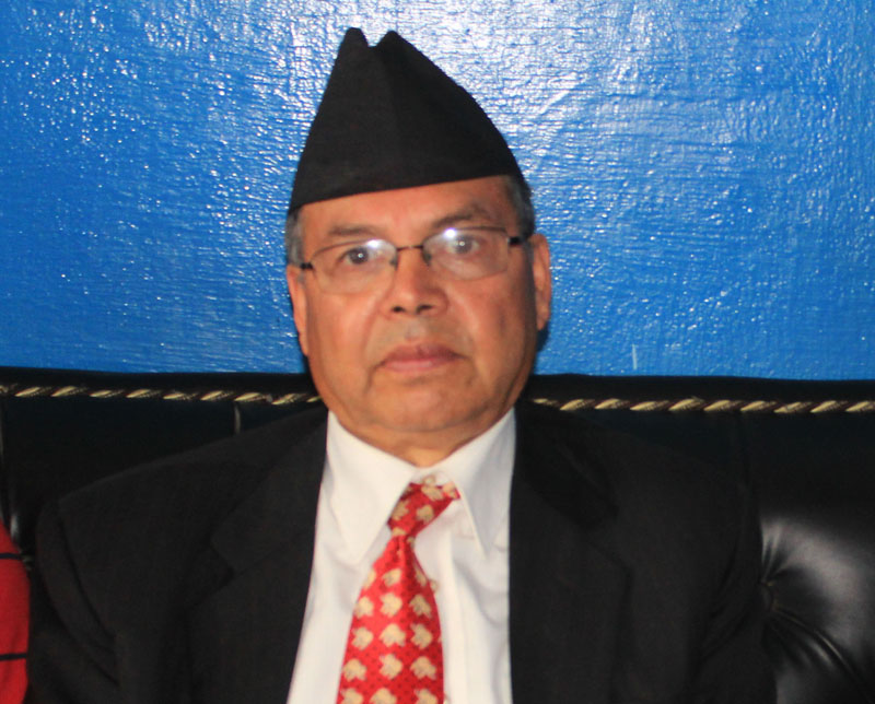 CPN-UML senior leader Jhalanath Khanal during a press meet at the Bharatpur Airport in Chitwan district on Thursday, March 30, 2017. Photo: THT Online