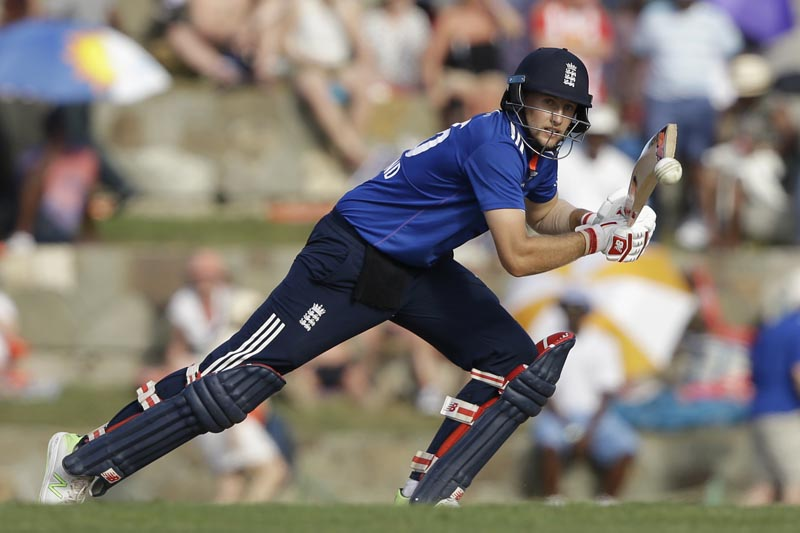 England's Joe Root plays a shot during the second one day international cricket match against West Indies at the Sir Vivian Richards Stadium in North Sound, Antigua, Sunday, March 5, 2017. Photo: AP