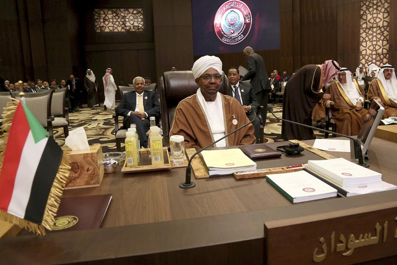 Sudanese President Omar al-Bashir attends talks of the Arab League summit in the Jordanian Dead Sea resort of Sweimeh,  Jordan, Wednesday, March 29, 2017. Arab leaders are gathering for an annual summit where the long-stalled quest for Palestinian statehood is to take center stage. The summit is expected to endorse key Palestinian positions, signaling to President Donald Trump ahead of White House meetings with leaders of Egypt and Jordan that a deal on Palestinian statehood must precede any Israeli-Arab normalization. Photo: AP