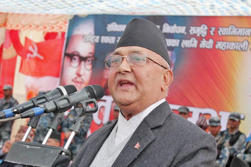 CPN-UML Chairman KP Sharma Oli addresses a mass assembly in Hetaunda of Makawanpur district as the CPN-UML's Mechi-Mahakali campaign resumed on Friday, March 10, 2017. Photo: Prakash Dahal