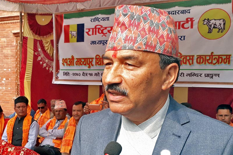 Deputy prime Minister and Minister for Federal Affairs and Local Development Kamal Thapa speaks at a programme in Bhaktapur, on Monday, March 27, 2017. Photo: RSS