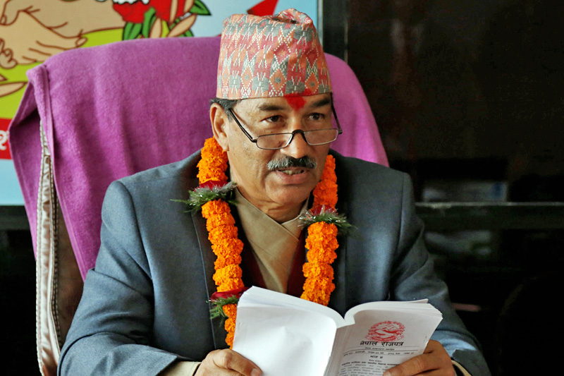 Newly appointed Deputy Prime Minister and Minister for Federal Affairs and Local Development Kamal Thapa assumes his office in Singha Durbar, Kathmandu, on Friday, March 10, 2017. Photo: RSS