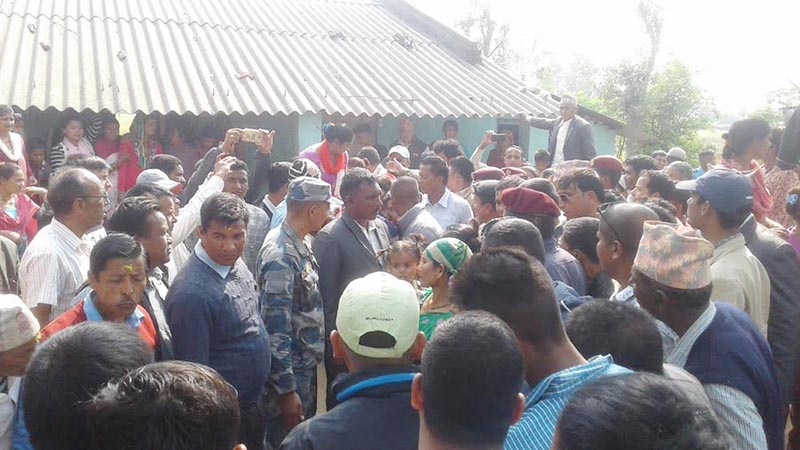 13th day rites of martyr Govinda Gautam being performed in Ananda Bazaar, Punarbas Municipality, on Tuesday, March 21, 2017. Gautam was killed in an incident of firing by Shashastra Seema Bal of India at the Nepal-India border in Kanchanpur on March 9, were performed. Photo: THT