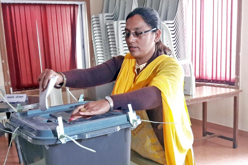 A woman rehearses voting during a training programme organised for the upcoming local level elections in Butwal Sub-Metropolitan City of Rupandehi district, on Sunday, March 26, 2017. Photo: RSS