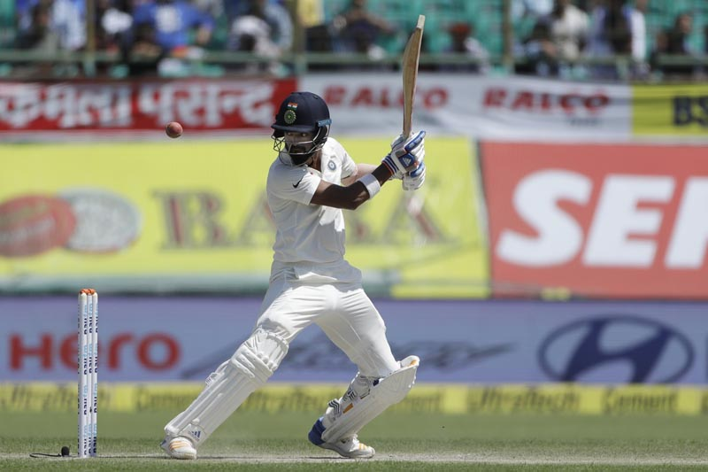 India's Lokesh Rahul plays a shot during the second day of their fourth test cricket match against Australia in Dharmsala, India, Sunday, March 26, 2017. Photo: AP