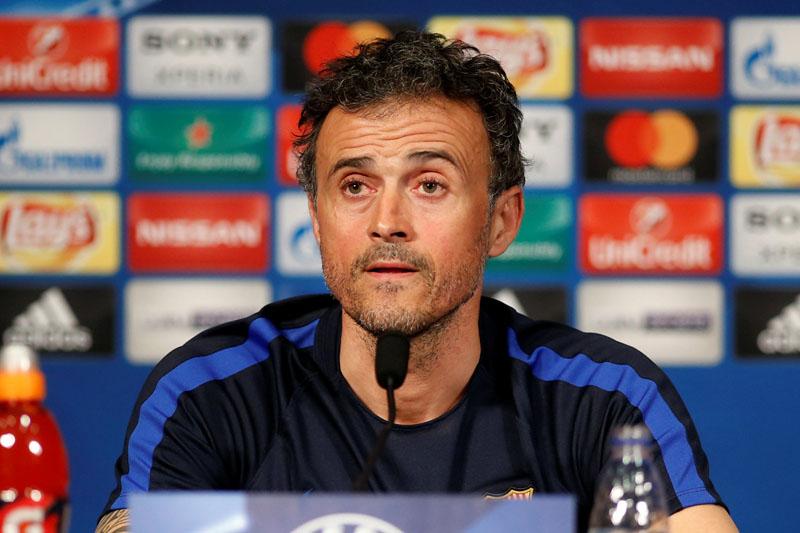 FC Barcelona's coach Luis Enrique Martinez attends a news conference. Photo: Reuters