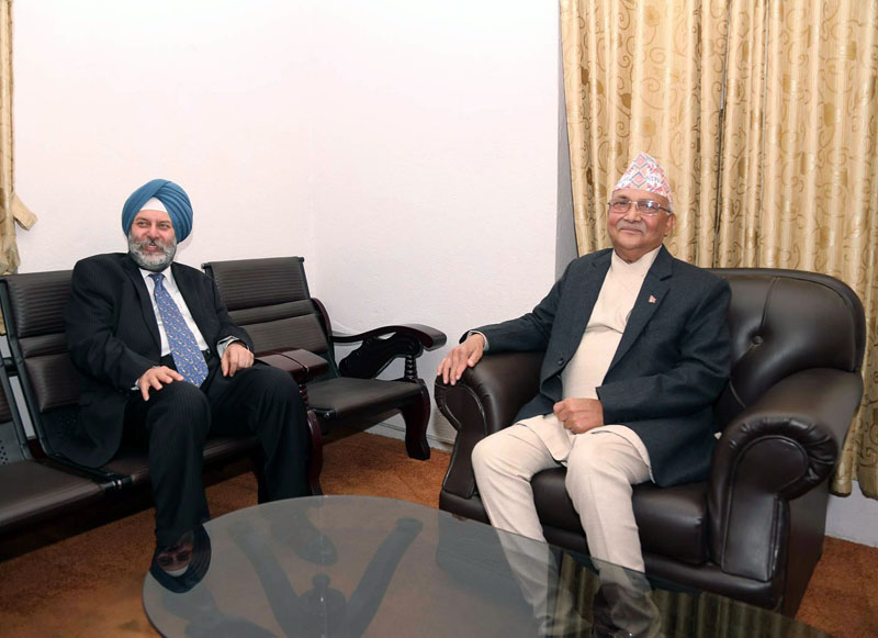 The newly appointed Indian Ambassador to Nepal Manjeev Singh Puri pays a courtesy call on CPN-UML Chairman KP Sharma Oli, at Singhadarbar in Kathmandu on Monday, March 27, 2017. Photo: RSS