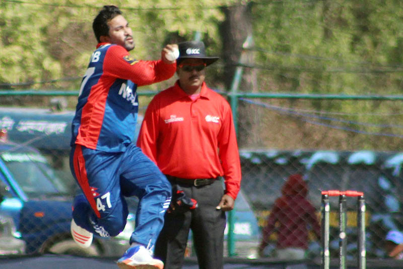 Nepal's strike bowler Mahaboob Alam steams in to bowl against Kenya during the ICC World Cricket League Championship at TU Cricket Stadium, on Monday, March 13, 2017. Courtesy: Subas Humagain