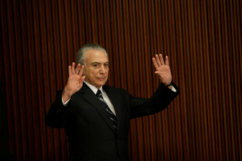 Brazil's President Michel Temer gestures during a meeting with the Pension Reform Commission at the Planalto Palace in Brasilia, Brazil, on February 21, 2017. Photo: Reuters