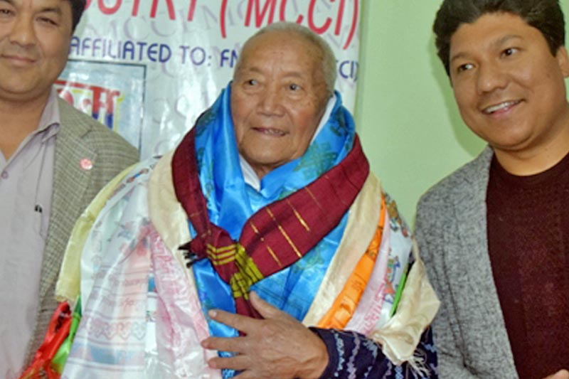 The Myagdi Chamber of Commerce and Industry felicitates 86-year-old Min Bahadur Sherchan, in Beni, on Wednesday, March 15, 2017. Sherchan is launching his Mount Everest expedition soon to become the oldest man ever to conquer the tallest peak. Photo: RSS