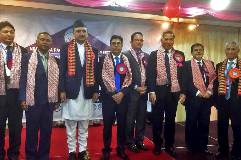 Minister for Foreign Affairs Prakash Sharan Mahat poses for a photograph with businesspersons after the fifth meeting of the Non-Resident Nepali Association (NRNA) Asia-Pacific region held in Kuala Lumpur, Malaysia on Sunday, March 19, 2017. Photo: RSS