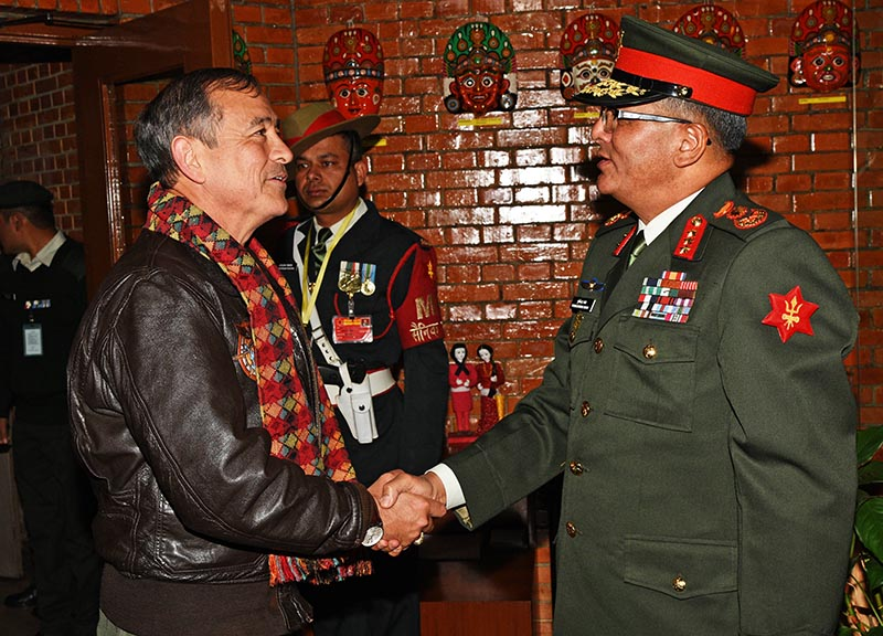 Nepal Army Lt Gen Purna Chandra Thapa receives USPACOM Admiral Harris at TIA. Photo: Nepal Army