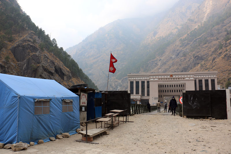 The Nepal-China border point in Rasuwagadhi is seen on the picture taken on Saturday, March 04, 2017. Across the bordering bridge lies the immigration office of China. Photo: RSS