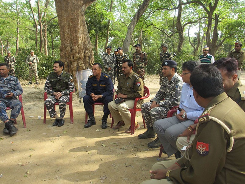 Chief security officials of Nepal and India hold meeting in India near the Nepali border, across Anand Bazaar of Punarbas Municipality-8, on Saturday, March 11, 2017. The security officials from both countries discussed solution to ease the tension that ran high after a Nepali man was shot by an Indian border guard on Thursday. The deceased was  building a culvert in Nepal near no man's land. Photo: RSS