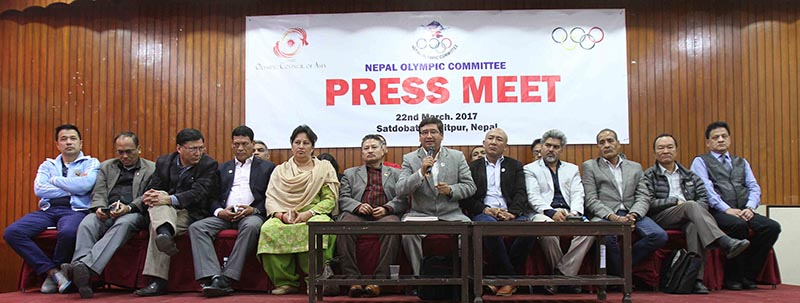 Nepal Olympic Committee President Jeevan Ram Shrestha (centre) gestures as other officials look on during a press meet in Kathmandu on Wednesday, March 22, 2017. Photo: Udipt Singh Chhetry/THT
